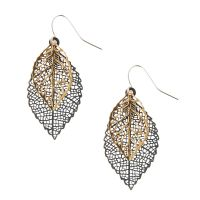 Gold and Silver Filigree Leaf Drop Earrings | Claire's US