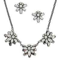 Flower Stone Earrings and Necklace Set | Icing US