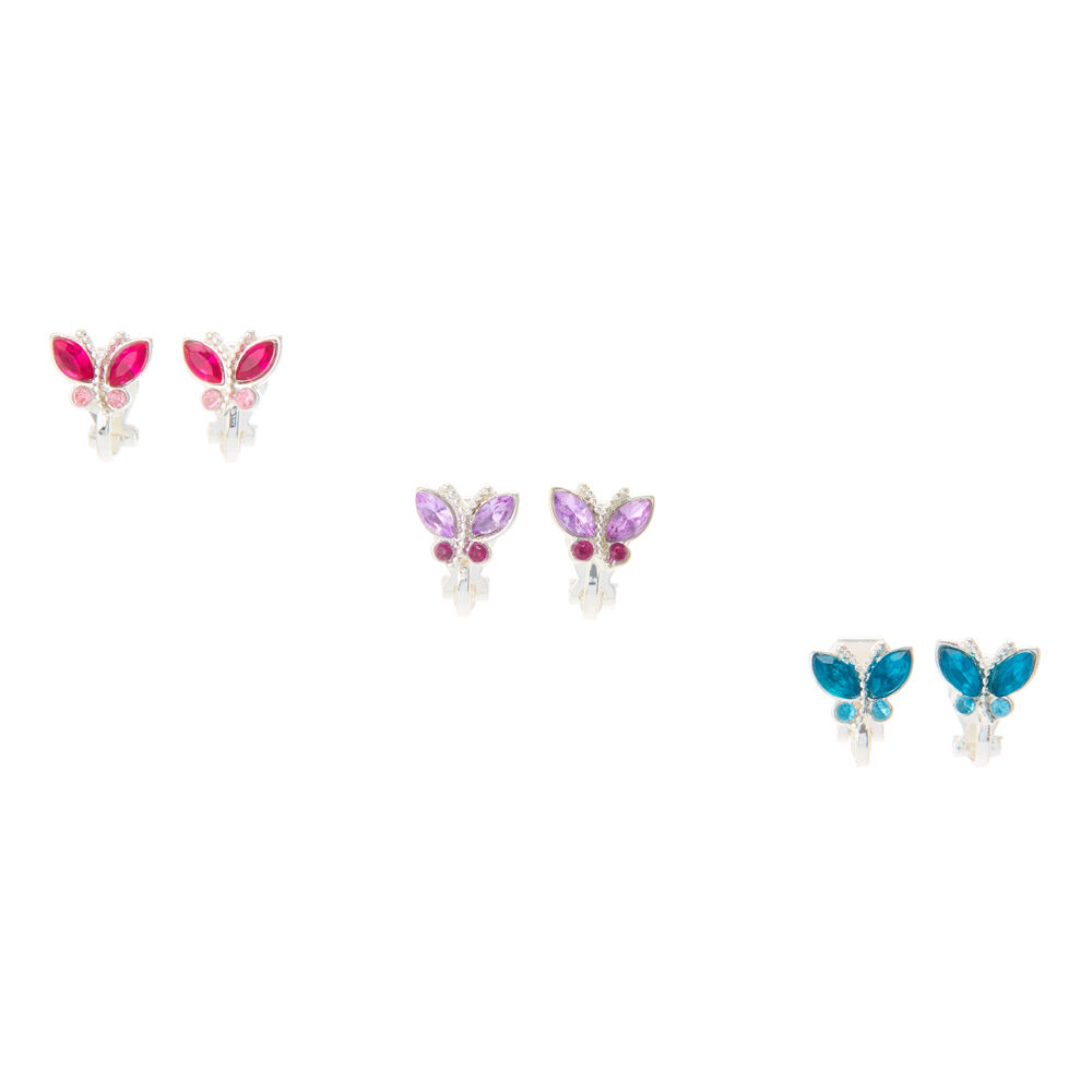 Pretty Pastel Butterfly Clip On Earrings