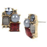 Kenneth Cole Stud Earrings - Burgundy/Gold | London Drugs