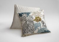 Crewel Embroidered Floral Outline Pillow   Pillows