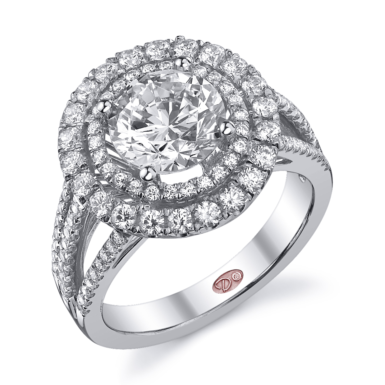 double halo engagement ring halo wedding rings Style DW