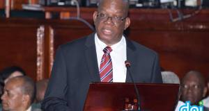 Finance Minister, Winston Jordan delivering a National Budget speech