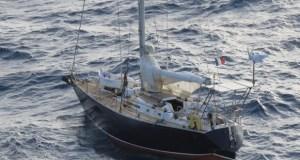 The yacht, Allegro, adrift about 200 miles off Guyana's coast. (Guyana Chronicle photo).