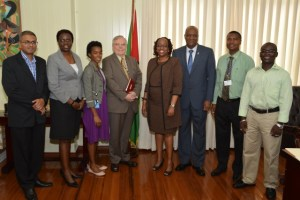 Permanent Secretary of the Ministry of the Presidency, Mr. Omar Shariff, Permanent Secretary, Ministry of Education, Ms. Delma Nedd, Development Officer, High Commission of Canada, Ms. Marcella Thompson, Canadian High Commissioner to Guyana, Mr. Pierre Giroux, Regional Project Manager, Caribbean Leadership Project, Dr. Lois Parkes, Minister of State, Mr. Joseph Harmon, Permanent Secretary, Department of Public Service, Mr. Reginald Brotherson and Permanent Secretary, Ministry of Communities, Mr. Emil McGarrell