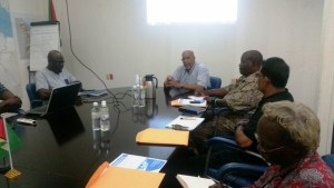 GWI CEO Dr Richard Van West-Charles speaking with representatives of hospitals in Georgetown
