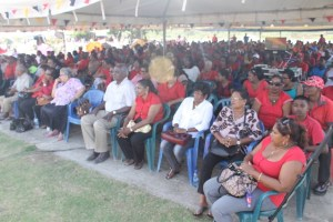 The major section of attendees at the PPP-organised event to commemorate the life and work the party's late founder leader and President of Guyana, Dr. Cheddi Jagan at Babu John, Port Mourant.