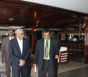 President David Granger and Minister of Public Security, Khemraj Ramjattan. In the background is Minister of State, Joseph Harmon.