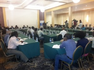 Participants at the Guyana government- Caribbean Development Bank Sea and River Defence Resilience Project Launch Workshop.