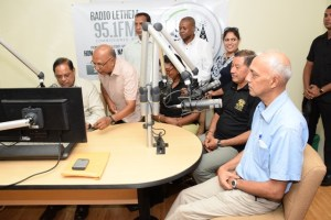 Prime Minister Moses Nagamootoo. Ministers Catherine Hughes, Ronald Bulkan  and Sydney Allicock in studio at Radio Lethem during an interview