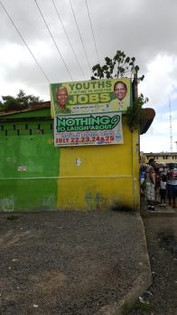 An APNU+AFC campaign promise still stands out among the hustle and bustle of the Stabroek Market Square.