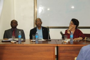 Foreign Affairs Minister, Carl Greenidge; President David Granger and Director General of the Ministry of Foreign Affairs, Ambassador Audrey Jardine- Waddell.