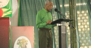 PNCR Leader and President,  David Granger addressing the opening of his party's 19th Biennial Delegates Conference at Congress Place, Sophia.