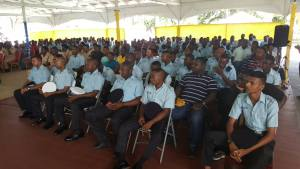 Members of the Traffic and Anti-Crime Patrols listening to an address by Police Commissioner, David Ramnarine.