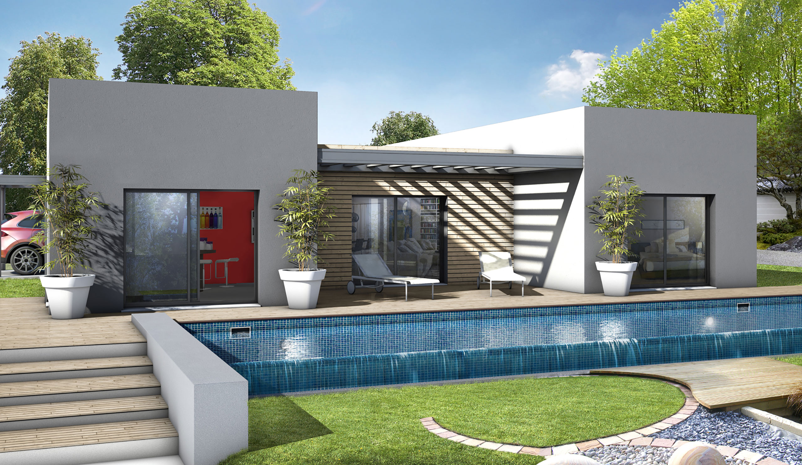 Maison Moderne Terrasse Couverte