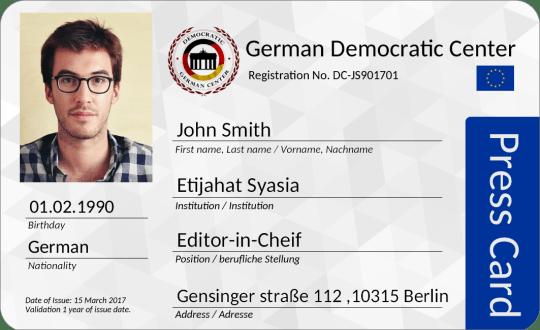 عضوية صحفي في المركز الديمقراطي الألماني بنظام الاتحاد الأوروبي
