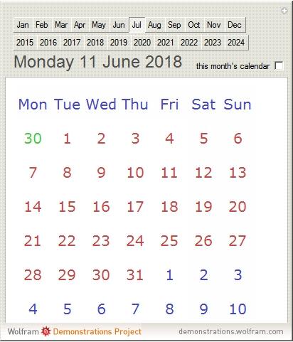 Ten Year Calendar - Wolfram Demonstrations Project