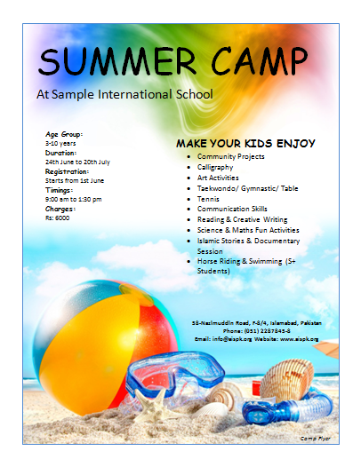 12 free summer camp flyer templates demplates for Camp brochure template