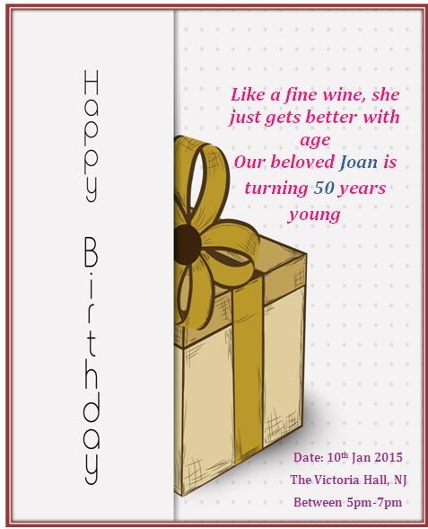 50th Birthday Invitation Templates Free Printable - Demplates - format for birthday invitation