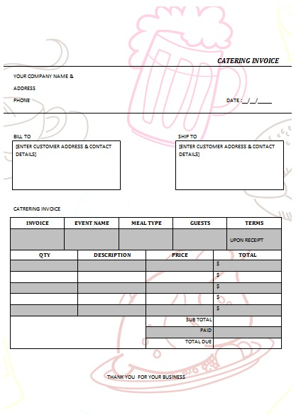 28 Catering Invoice Templates Free Download - Demplates