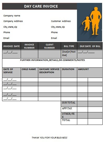 child care billing template