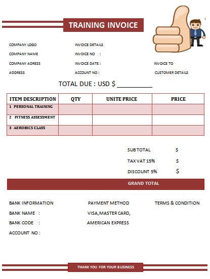 30 personal training invoice templates for professionals for Personal trainer workout template