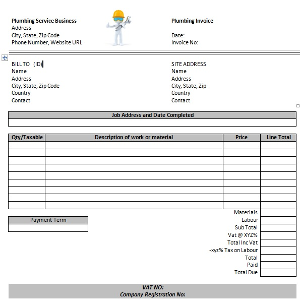 14 Free Plumbing Invoice Templates - Demplates - name address phone number template