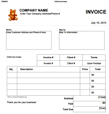 27 Day Care Invoice Template Collection - Demplates