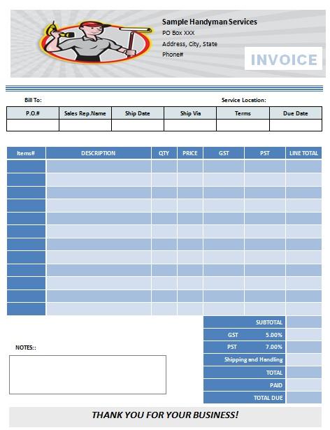Handyman Invoice Sample Handyman Receipt Template Work Invoice - handyman invoice forms