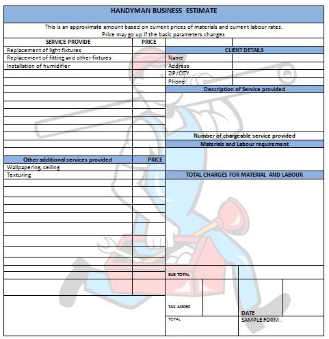 14 Practiced Handyman Invoice Templates - Demplates - handyman invoice forms