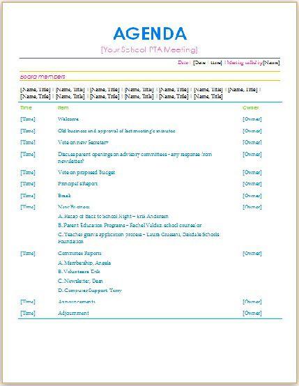 board meeting agenda template trattorialeondoro - professional meeting agenda template