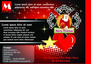 Christmas Party Invitation With Santa Claus