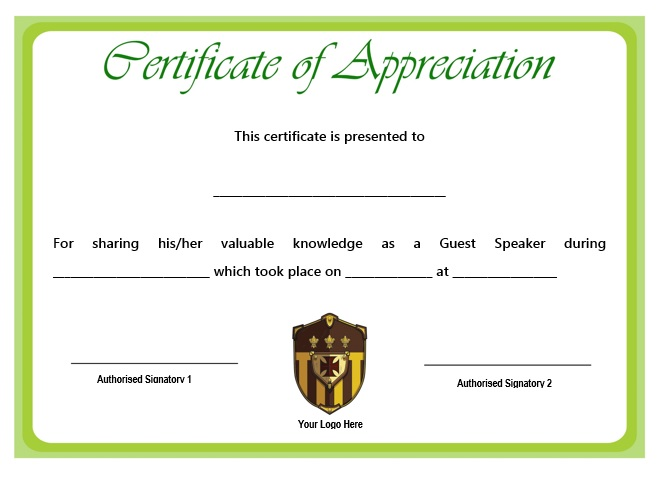 12 + Genuine Samples of Certificate of Appreciation for Guest