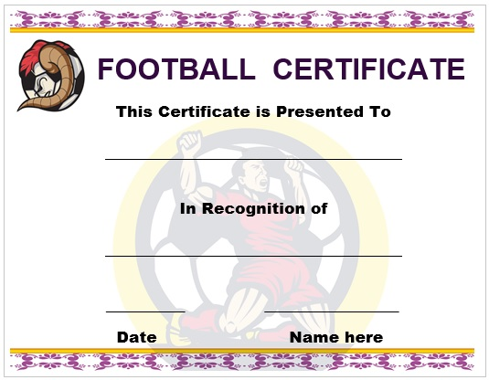 30 Free Printable Football Certificate Templates - Awesome Designs - football certificate template