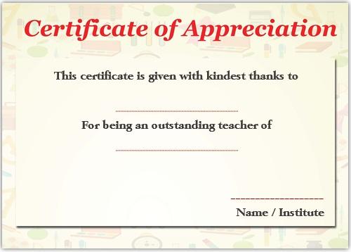 11+ Printable Certificates of Appreciation for Teachers  Best
