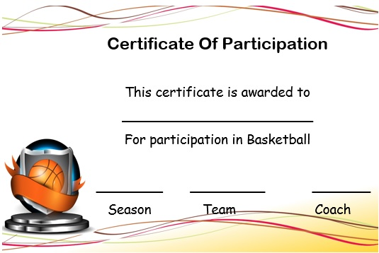 Certificate Of Participation Template Beautiful Template Design