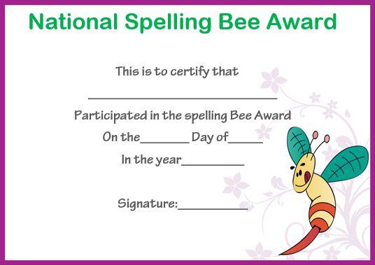 bee certificate template - 28 images - spelling bee award - certificate of participation free template