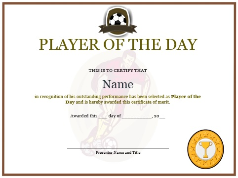10 + Professional Player of The Day Certificate Templates for All - best of printable soccer certificate
