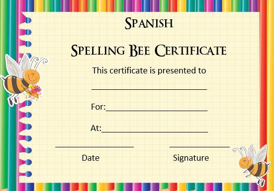 21 Free Printable Spelling Bee Certificates Participation, Winner - spanish speller