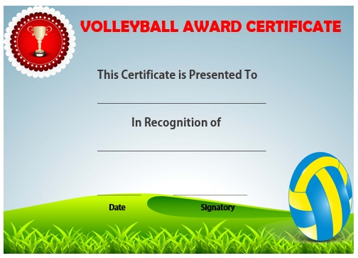 25 Volleyball Certificate Templates - Free Printable Documents