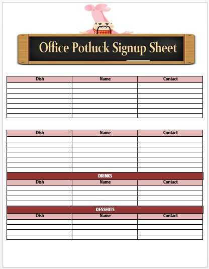 60+ Best Potluck Signup Sheets For Free (5th One Will Amaze You