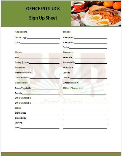 potluck party sign up sheet - Maggilocustdesign