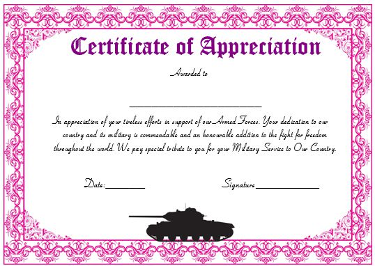 20+ Professional Army Certificate of Appreciation Templates - military certificate of appreciation template