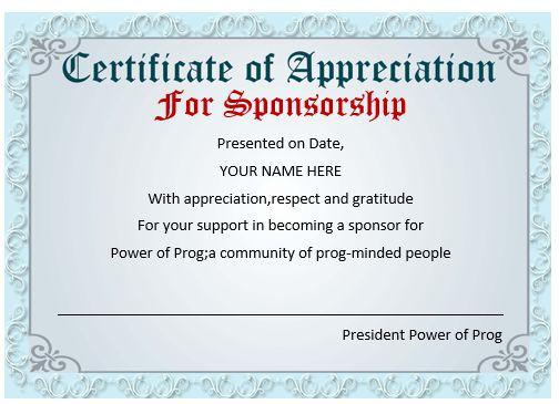 12 Elegant Certificates of Appreciation for Sponsorship  Free Word