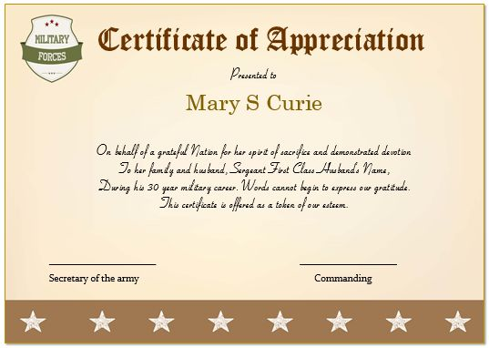 military certificate of appreciation template free - Bire1andwap