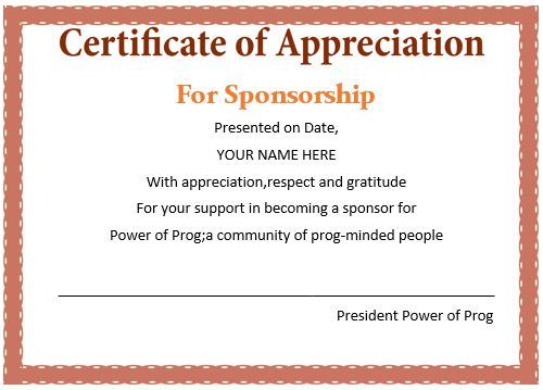 12 Elegant Certificates of Appreciation for Sponsorship  Free Word - Certificate Of Appreciation Words