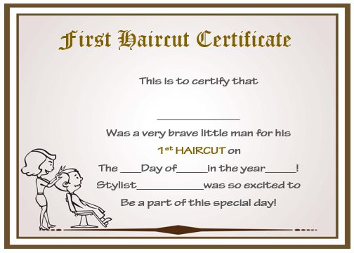 my first haircut certificate template - Josemulinohouse