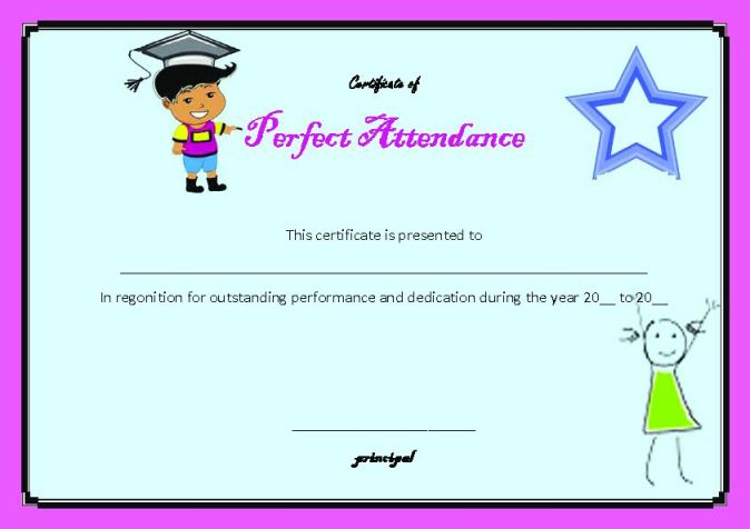 Perfect Attendance Certificate  23+ Word Templates (School Clip - free perfect attendance certificate template