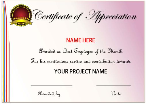 20 Free Certificates Of Appreciation For Employees  Editable - employee certificate sample