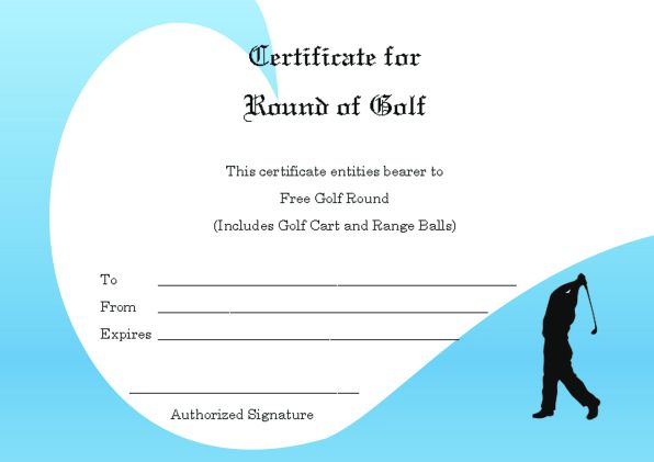 Adorable Golf Certificates for Professional Players  Free - free golf certificate templates for word